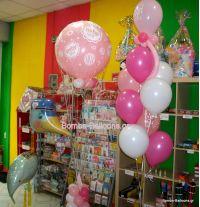 Πελαργός, Αερόστατο baby girl, σύνθεση μπαλονιών