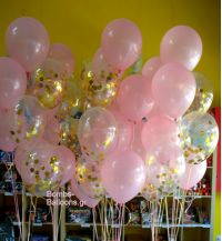 Μπαλόνια ροζ και διάφανα με κονφετί