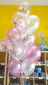 Μπαλόνια ροζ και κονφετί