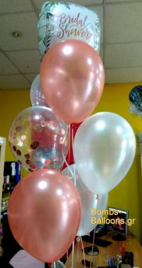Bridal shower μπαλόνια ροζ χρυσό και κονφετί
