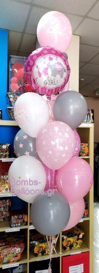 Μπαλόνια ελεφαντάκια γκρι ροζ