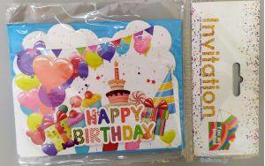 Προσκλήσεις Happy Birthday τούρτα