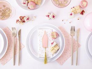 Χαρτοπετσέτες λευκό με ροζ χρυσό πουά