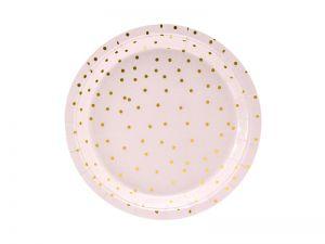 Πιάτα γλυκού ροζ με χρυσό πουά