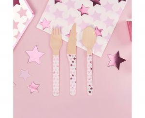 Σετ ξύλινα μαχαιροπίρουνα αστεράκια ροζ