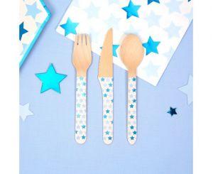Σετ ξύλινα μαχαιροπίρουνα αστεράκια μπλε
