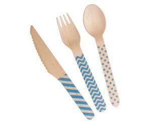 Σετ ξύλινα μαχαιροπίρουνα ρίγες πουά μπλε