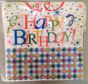 Χαρτοπετσέτες Happy Birthday γκρι