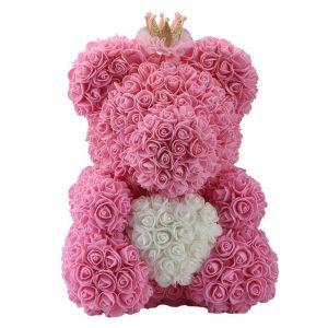 Rose teddy bear ροζ με λευκή καρδιά στέμμα