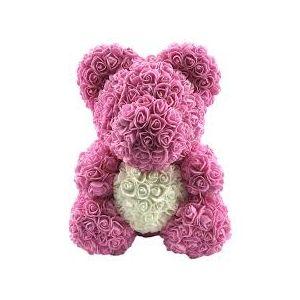 Rose teddy bear ροζ λευκή καρδιά