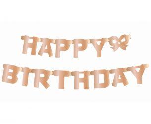 Ροζ χρυσό Banner Hαppy Birthday Γράμματα