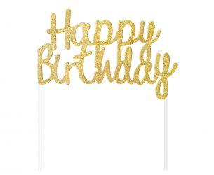 Διακοσμητικό τούρτας Happy Birthday χρυσό ολογραφικό
