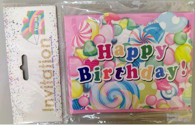 Προσκλήσεις Happy Birthday πολύχρωμες